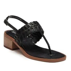 Splendid Tempo T-Strap Woven Leather Black Sandals